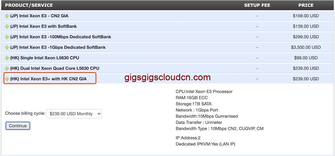 GigsGigsCloud香港服务器3.5折促销